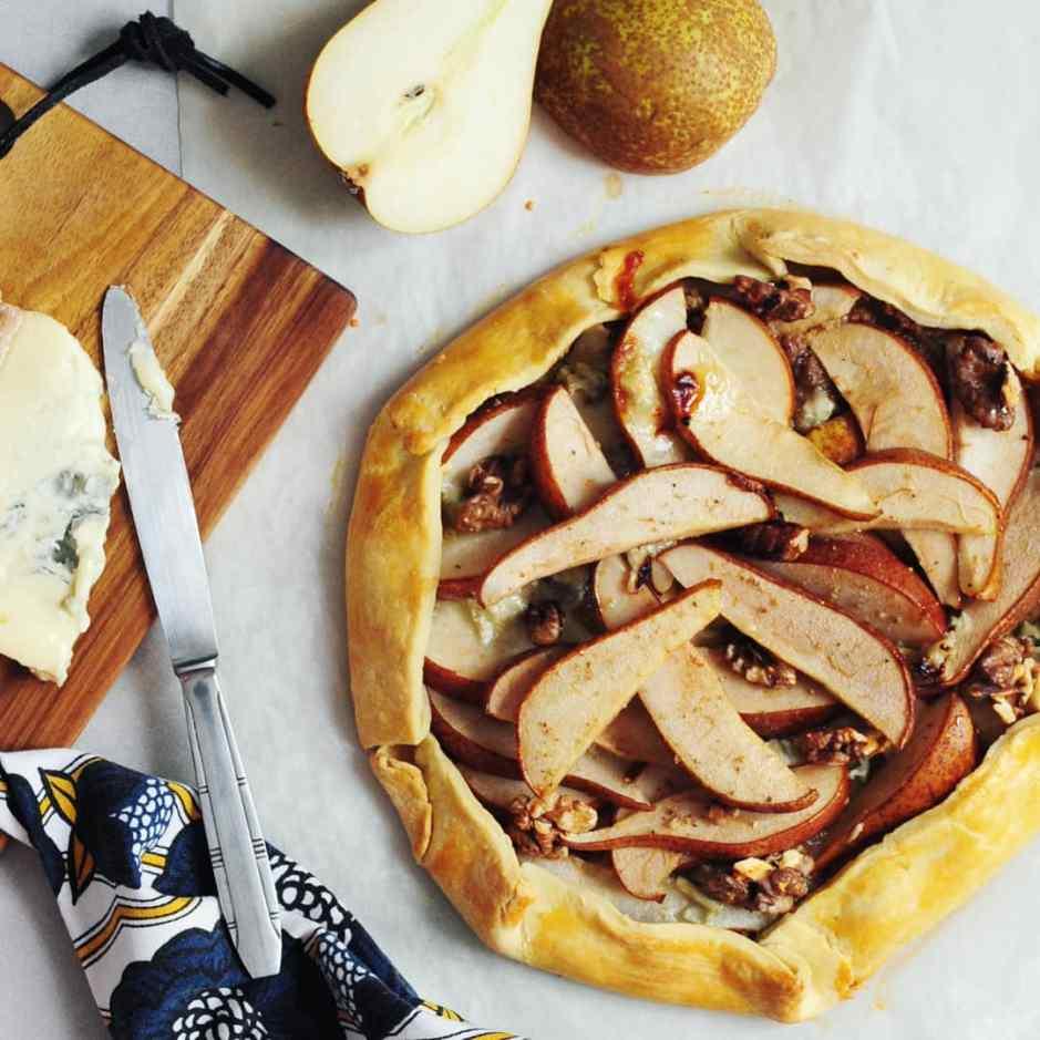 tarte rustique poires gorgonzola noix